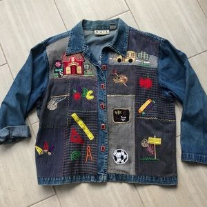 Vintage Embroidered Patchwork Teacher Jean Jacket